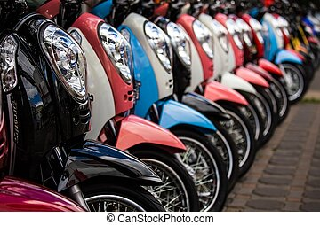 Line of new motorbikes in a shop