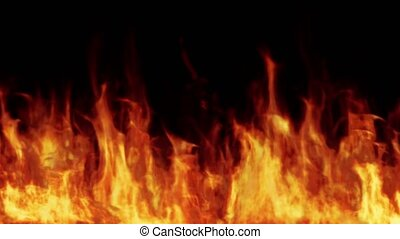 Line of real flames burning on black background. Real fire. ...