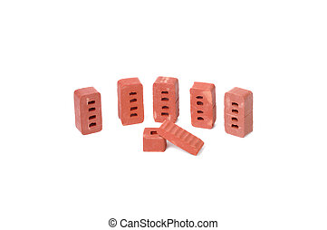 red-brick on a white background
