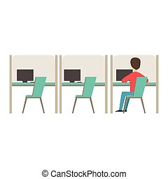 Line Of Similar Cubicles With One Person At Work, Coworking In Informal Atmosphere In Modern Design Office Infographic Illustration