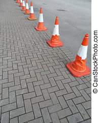 Line of Traffic Safety Cones