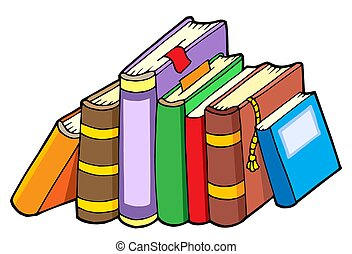 Line of various books - isolated illustration.