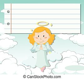 Line paper design with angel flying