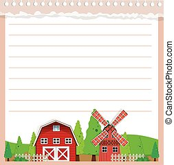 Line paper design with barn and windmill illustration