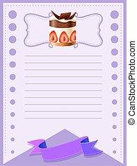 Line paper design with cake illustration