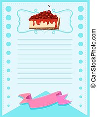 Line paper design with cheesecake illustration
