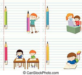 Line paper design with children and pencil
