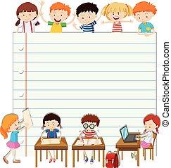 Line paper design with children in classroom