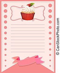 Line paper design with cupcake illustration