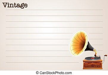 Line paper design with gramophone illustration