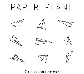 Line paper planes icons - Line paper planes on white ...
