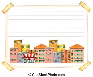 Line paper template with buildings illustration