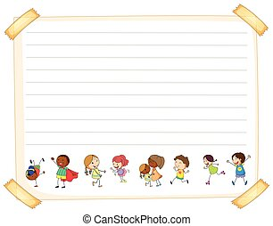 Line paper template with kids illustration