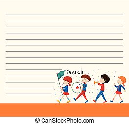 Line paper template with kids in school band