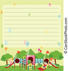 Line paper template with kids playing in playground