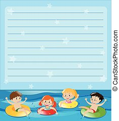 Line paper with kids swimming illustration