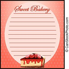Line paper with strawberry cheesecake illustration