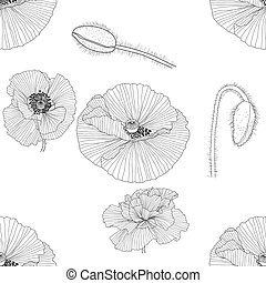 line pattern with poppies. Monochrome floral background wallpaper.
