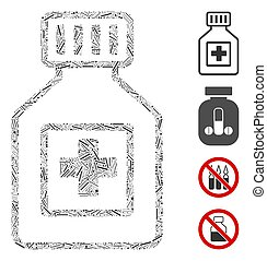 Line Pharmacy Vial Icon Vector Mosaic