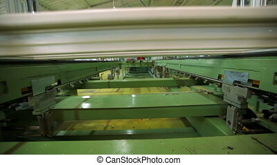 Line production of plastic windows. working machine for the manufacture of plastic windows