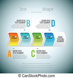 Vector illustration of line progress shape infographic elements.
