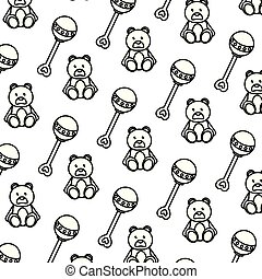 line rattle and teddy bear toys background