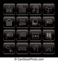 Line Real Estate Icons - Vector Icon Set