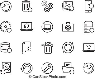 Line Recovery Icons - Simple Set of Recovery Related Vector...