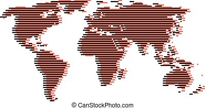 line red and black world map like digital noise