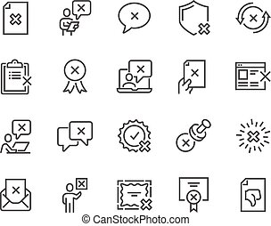 Line Reject Icons - Simple Set of Reject Related Vector Line...