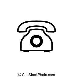 Line retro phone icon. Vector telephone symbol.