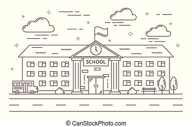Line school building. - Line school building outdoors with ...