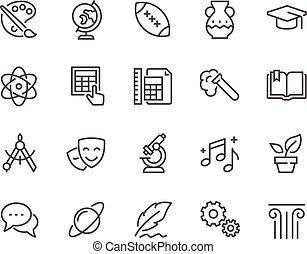 Line School Subjects Icons - Simple Set of School Subjects...