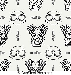 Line seamless pattern vector motorcycle classic bike power motor. Legendary retro. Cartoon. Biker motoclub rider helmet. Gasoline engine spark plug. Illustration, element for your design and wallpaper