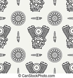 Line seamless pattern vector motorcycle classic bike v power motor, wheel. Legendary retro. Cartoon. Biker motoclub. Gasoline engine. Spark plug. Illustration, element for your design and wallpaper.