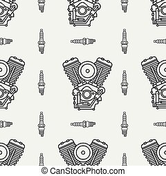 Line seamless pattern vector motorcycle classic bike power motor. Legendary retro. Cartoon style. Biker motoclub rider. Gasoline engine. Spark plug. Illustration, element for your design and wallpaper