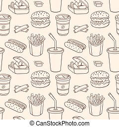 Line seamless pattern with fast food