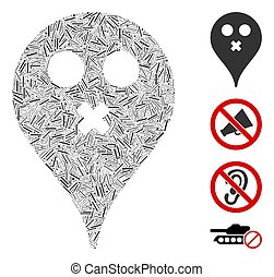 Line Silence Smiley Map Marker Icon Vector Collage