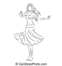 Line silhouette of young woman showing belly dance - Art...
