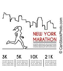 Line silhouettes of female runner. Running marathon, poster design