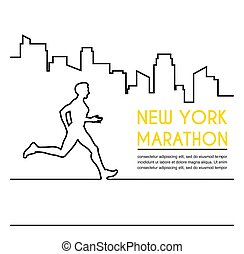 Line silhouettes of female runner. Running marathon, poster design