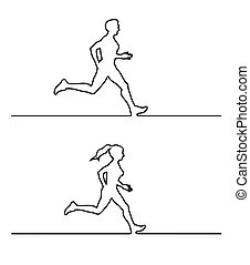 Line silhouettes of runners. Vector set of linear runners figures