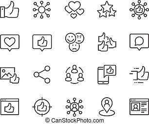 Line Social Networks Icons