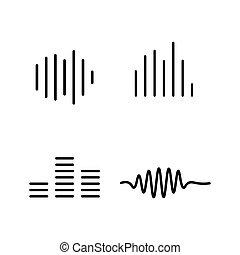 line sound waves icon on white background
