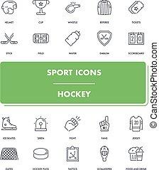 Line sport icons set. Hockey