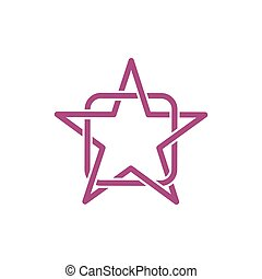 Line Star and Square abstract logo vector template