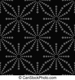 Line stars seamless pattern on black background. Vector illustration
