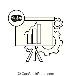 line statistics bar growing presentation with gears
