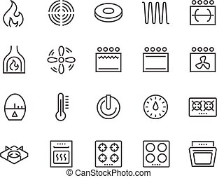 Line Stove Icons - Simple Set of Stove Related Vector Line...