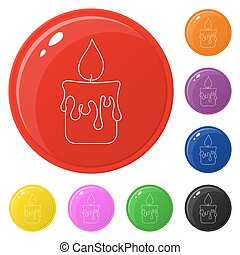 Line style candle icons set 8 colors isolated on white. Collection of glossy round colorful buttons. Vector illustration for any design.